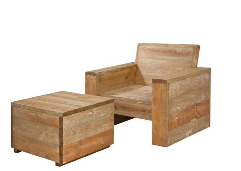 Loungestoel En Hocker.2x Loungestoel Met Hocker Incl Bevestigingsmateriaal En 1x Blik Steigerhout Beits Grey Wash