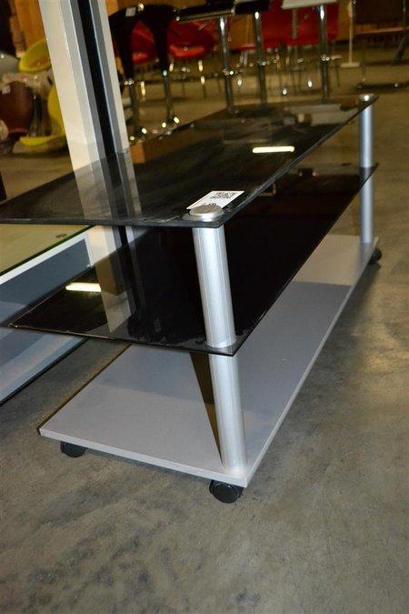 Dressoir Met Glazen Plaat.Tv Dressoir Zwart Glazen Platen Metalen Poten Grijze Onderplaat