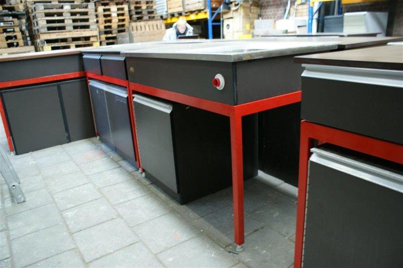 Werkbank Met Spoelbak 3x Kast Met 2x Lade Bovenblad Rvs Afm Lxbxh Ca 240x70x95cm