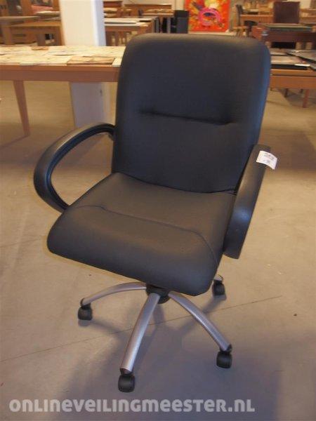 Bureaustoel Zwart Lederlook.Bureaustoel Zwart Lederlook In Hoogte Verstelbaar