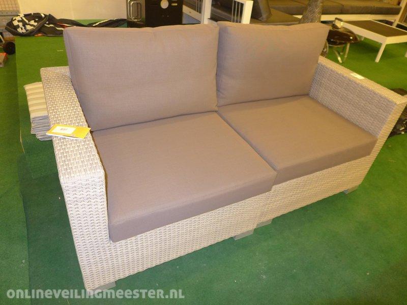 All Weather Kussens : Loungebank life model maui 2 zits kunststof grey wash inclusief