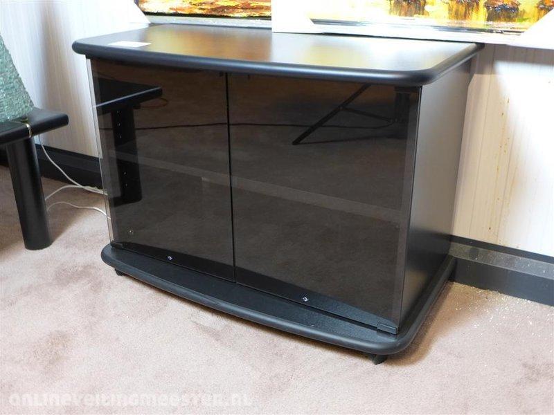 Tv meubel mdf zwart 2x glazen deur hxbxd ca. 60x83x46 cm