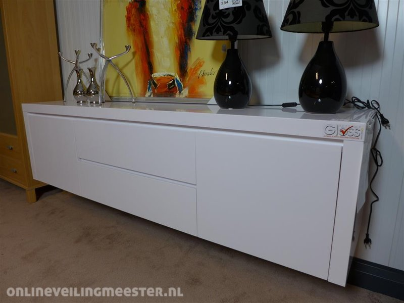 Tv dressoir t345 hoogglans wit wandbevestig for Tv dressoir hoogglans wit