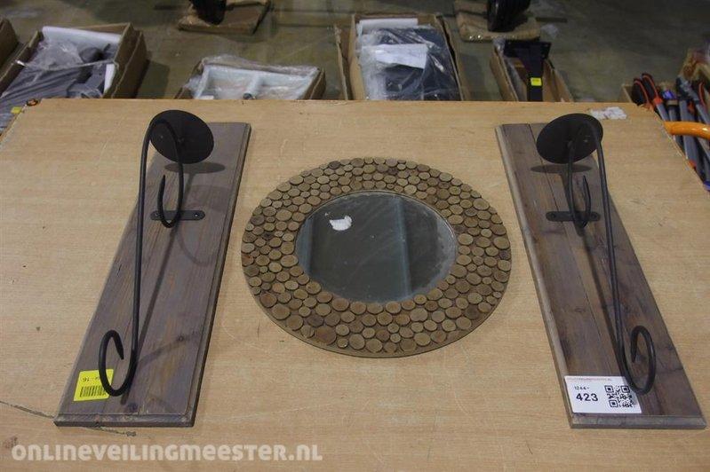 Spiegel Zwart Metaal : Wandkandelaar hoogte ca cm zwart metaal spiegel met kurk