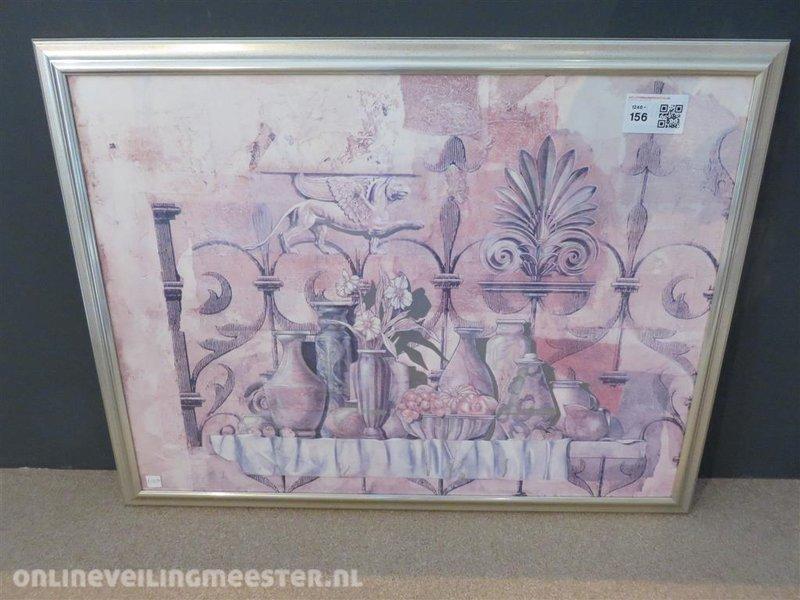 wanddecoratie matglas zilver lijst afmetin