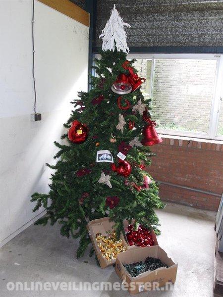 Kerstboom, 240cm, inclusief verlichting, rode en gouden kerstballen ...