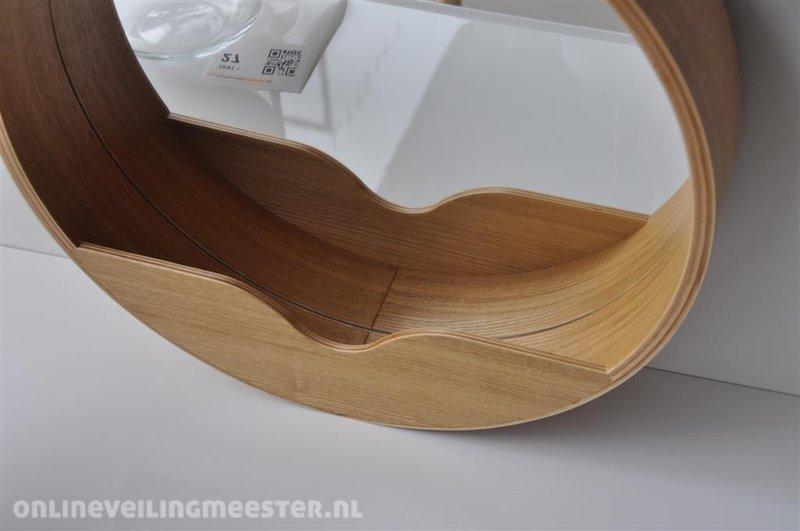 Design wandspiegel met eiken lijst diameter ca cm