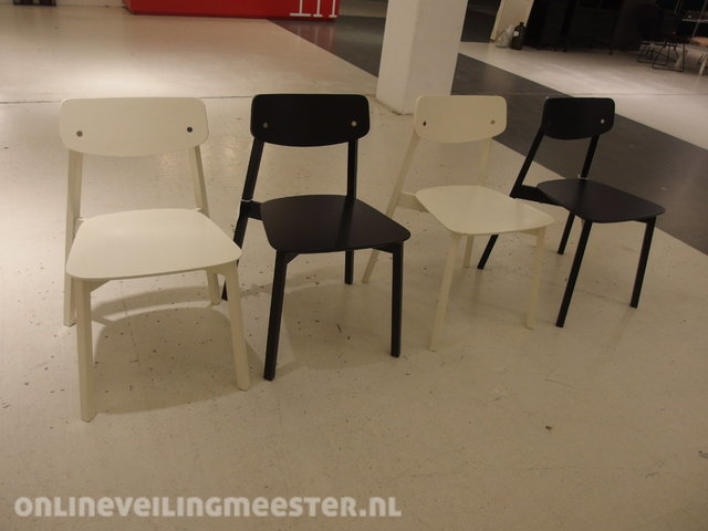 Eetkamerstoel vt wonen stip chair wit en zwart