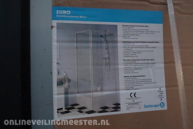 Douchewand met deur saniscape euro helder