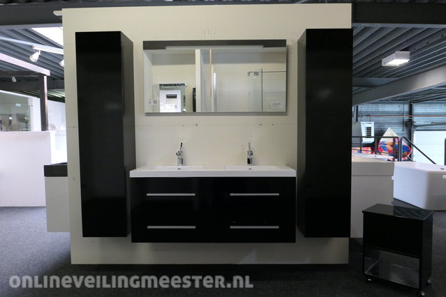 Bathroom Furniture With 2 High Cabinets Gloss Black