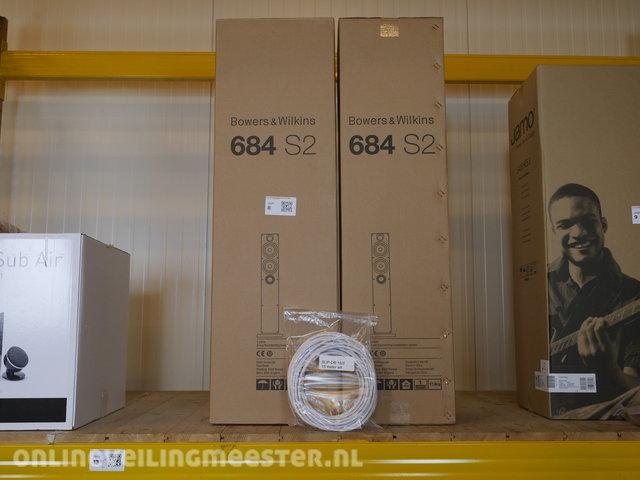 2 0 Floorstanding speakers with cable Bowers & Wilkins, 684 S2 /  speakerkabel 15m, White