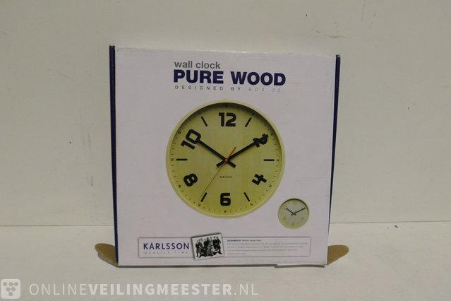Karlsson Belt Wandklok.Wandklok Karlsson Pure Wood Hout