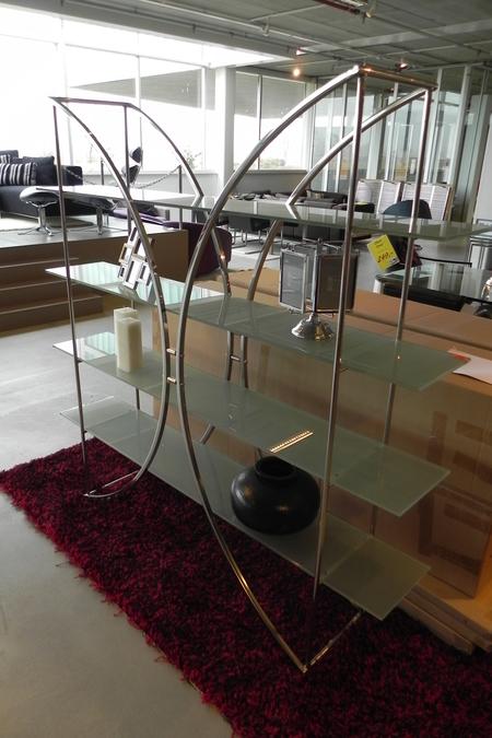 Kast room divider metaal 4 glazen legbor - Metaal schorsing en glazen ...