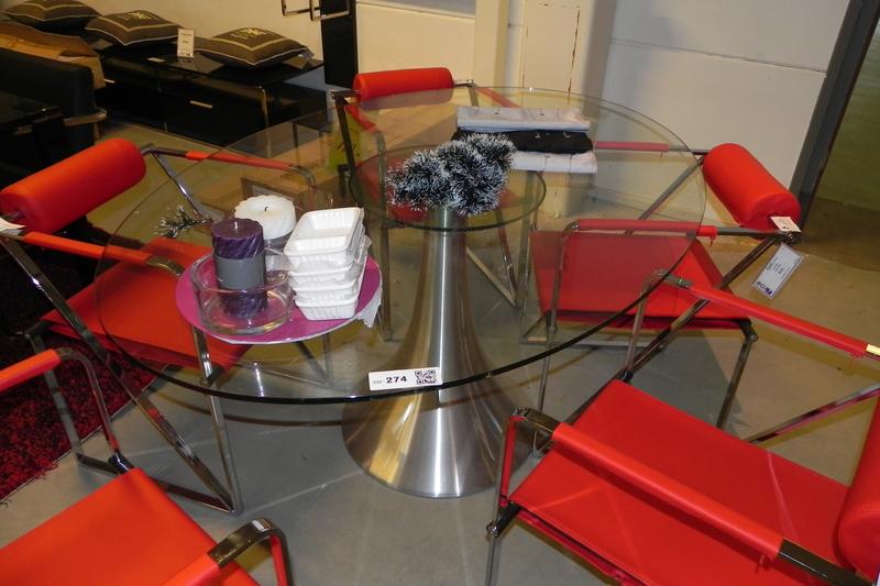 Eetkamertafel, ovaal, met glazen blad op geborsteld RVS voet, afm ca ...
