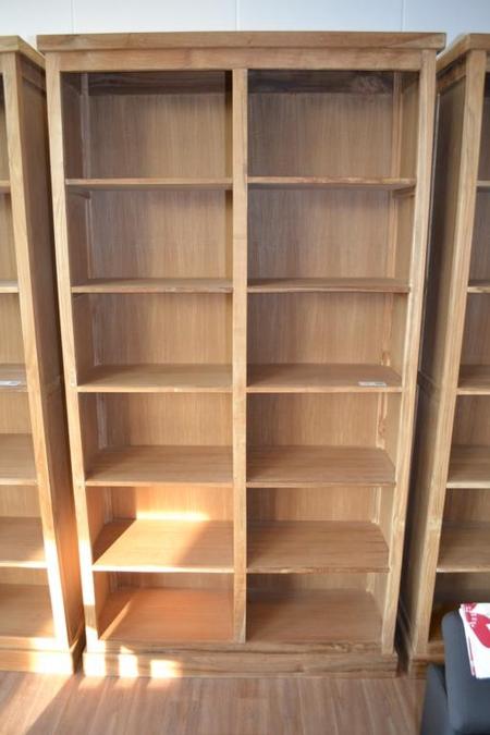 boekenkast teak 12 vakken hxb ca 120x230cm