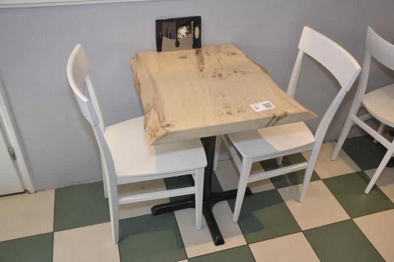 Tafel 2x stoel - Smeedijzeren stoel en houten ...