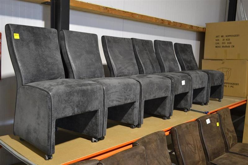 Eetkamerstoelen Grijs : 6x eetkamerstoel grijs met parketwieltjes 6x ...
