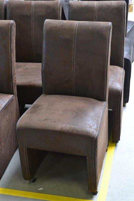 6x eetkamerstoel op parket wieltjes kleur br for Eetkamerfauteuil op wieltjes