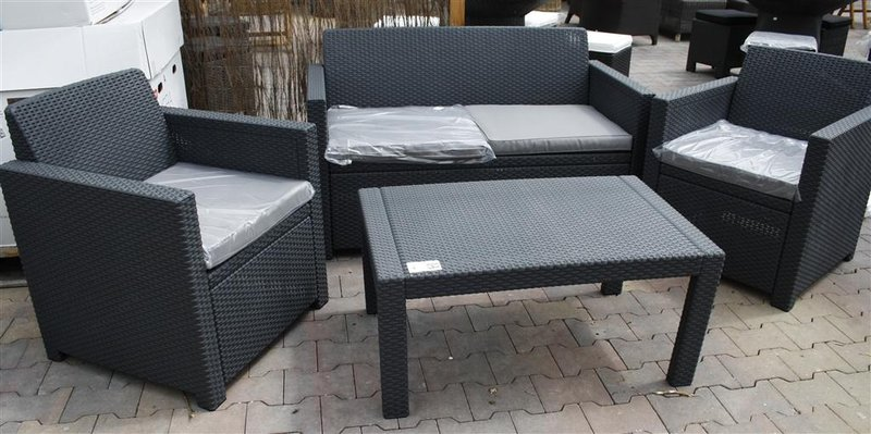 lounge set merano allibert rotanstijl grijs. Black Bedroom Furniture Sets. Home Design Ideas