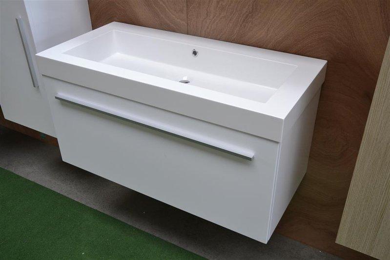 Hoogglans Wit Kast : Badmeubel hoogglans wit 1 lade softclose 100x48cm halfhoge kast