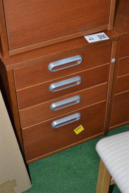 Ladeblok bruin voorzien van 4 laden hout for Ladeblok hout