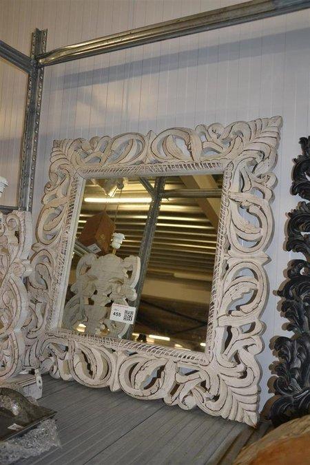 Spiegel ptmd hout wit afm ca 80x80 cm for Spiegel 80x80