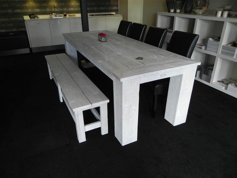 Keukentafel met zitbank steigerhout wit for Zitbank steigerhout