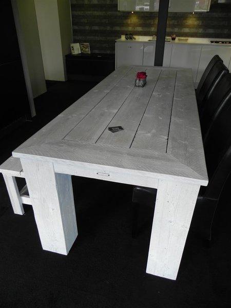 Keukentafel met zitbank steigerhout wit for Steigerhout zitbank