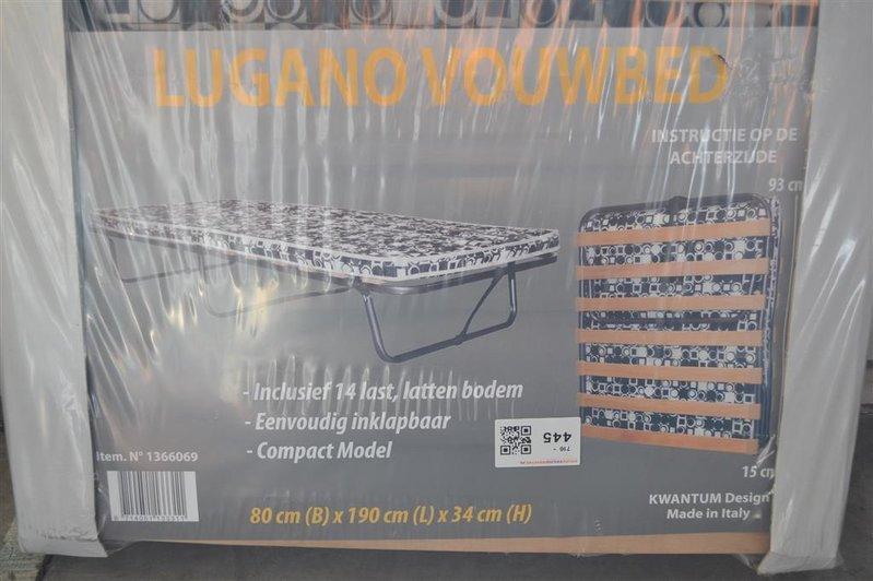 Vouwbed Lugano Lxbxh Ca 190x80x34cm Met Lattenbodem