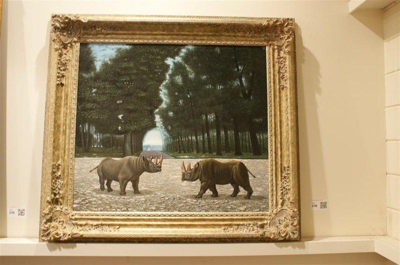 Schilderij Neushoorns, handgeschilderd, met h.. - Onlineveilingmeester ...