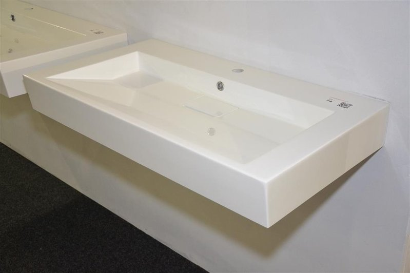 Wastafel polystone wit met verdekte afvoer afm ca cm
