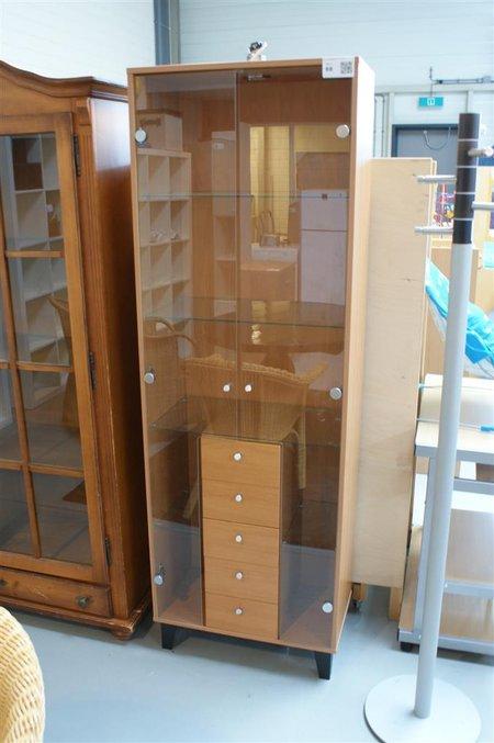 Kast Afm Lxbxh Ca 63x35x190cm Hout Voorzien Van Glazen Deuren En Planken