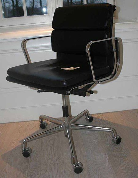 Design bureaustoel vitra ea217 zwart leren b for Charles eames bureaustoel