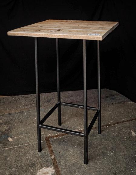 Super Statafel, hout/staal, afm. hxbxd ca. 110x76x76 cm CM73